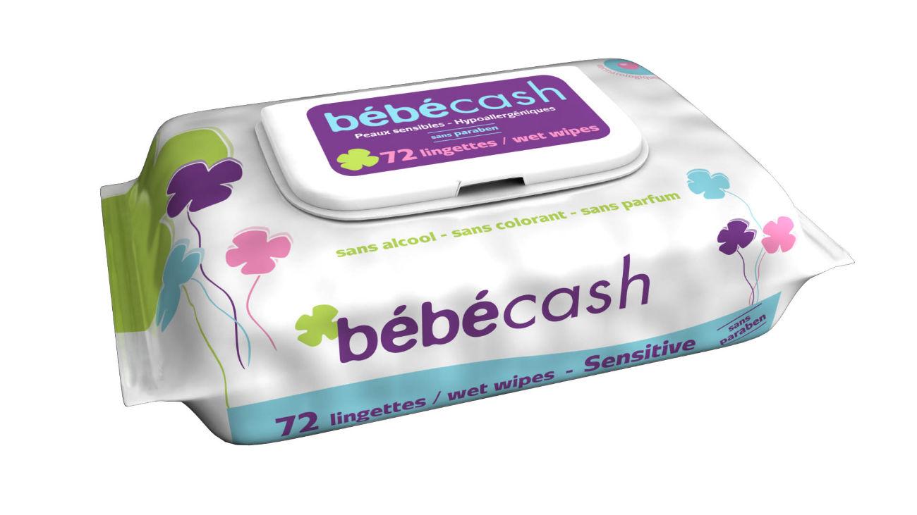 Modélisation en image de synthèse du paquet de lingettes pour bébé Bébé Cash.