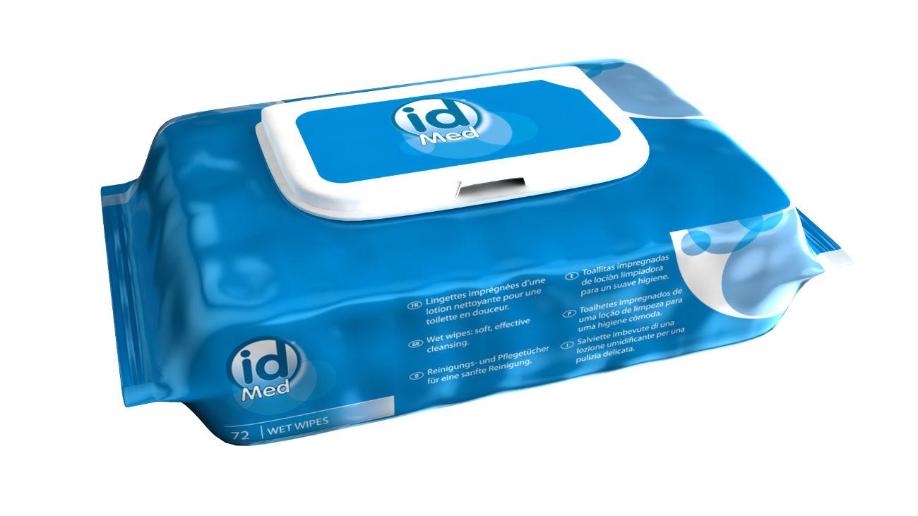 Modélisation en image de synthèse du packaging des lingettes nettoyantes ID