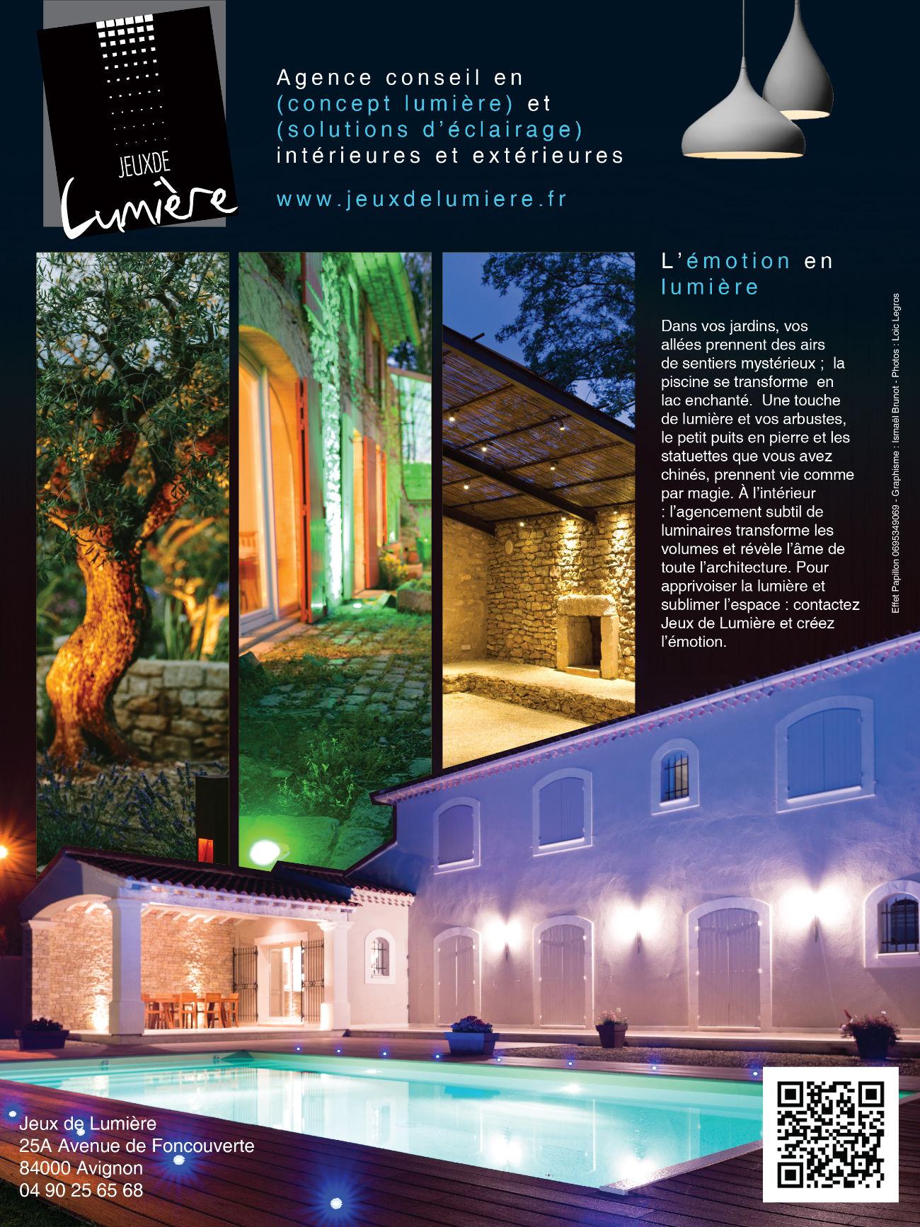 Publicités rédactionnelles pour Jeux de Lumière.Villa avec piscine et jolies lumieres