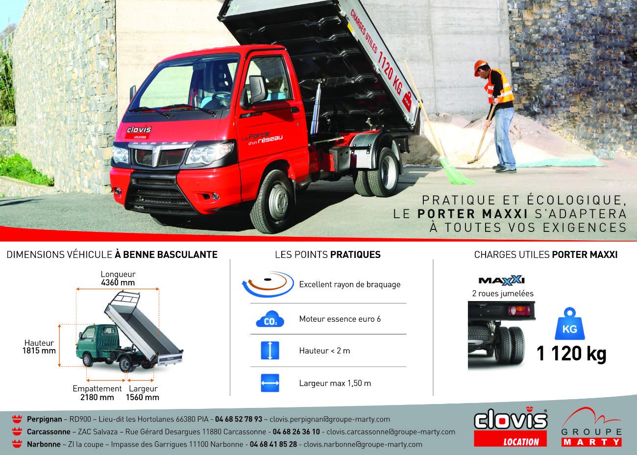 Flyer verso de promotion d'un nouveau véhicule utilitaire Piaggio Porter