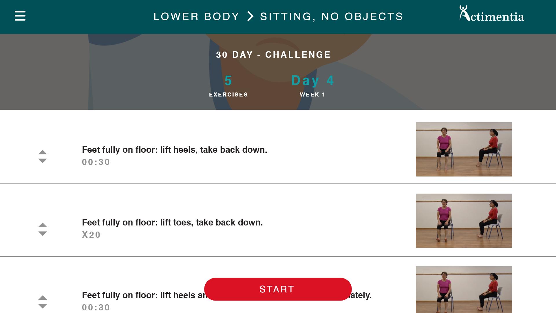 Interface d'actimentia application de sport pour personnes agées séries exercices