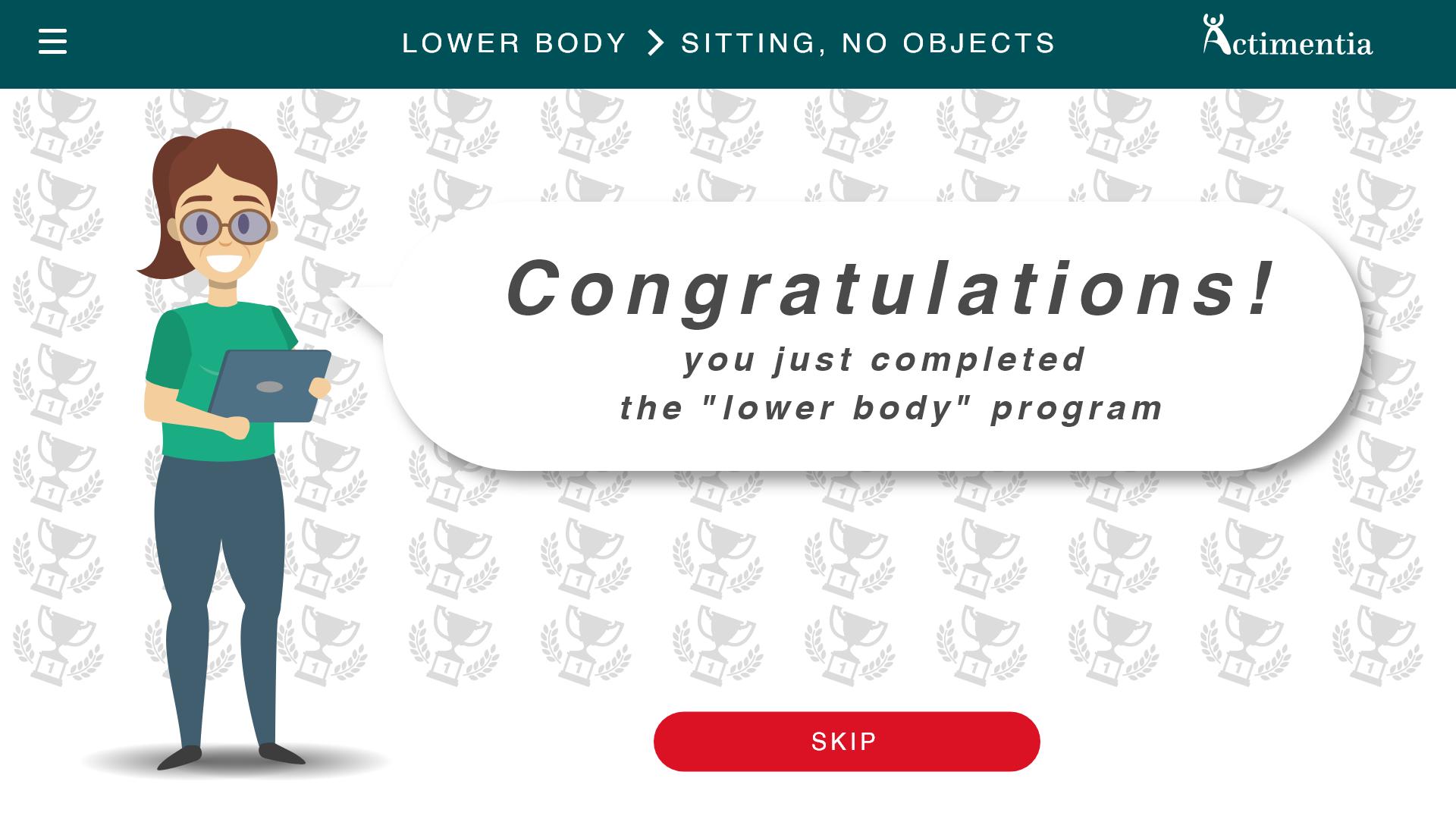 Interface d'actimentia application de sport pour personnes agées felicitations