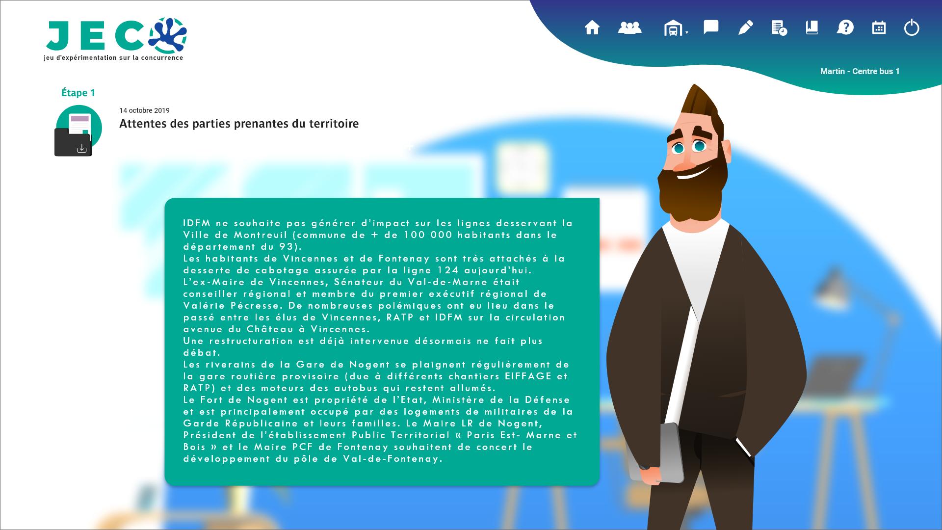 Interface d'un logiciel de formation de réponses aux appels d'offre des cadres supérieurs de la SNCF INFO