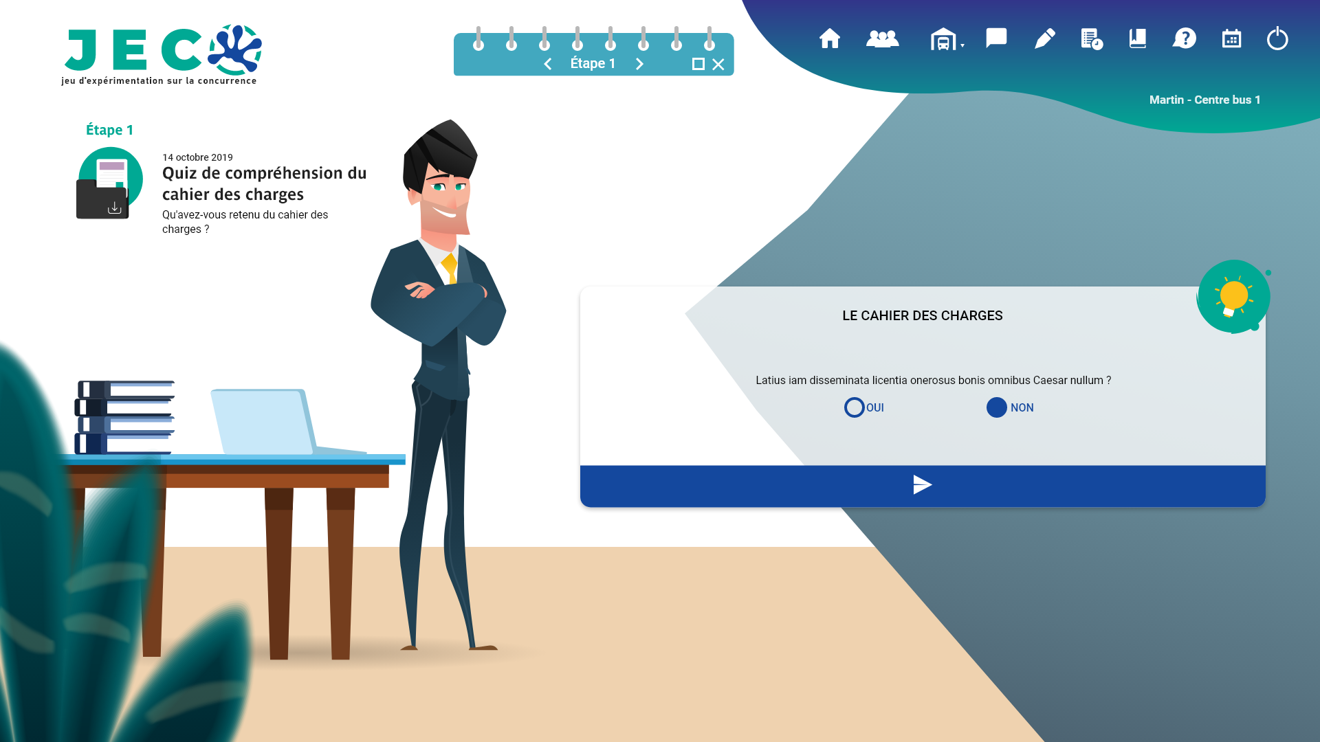 Interface d'un logiciel de formation de réponses aux appels d'offre des cadres supérieurs de la SNCF