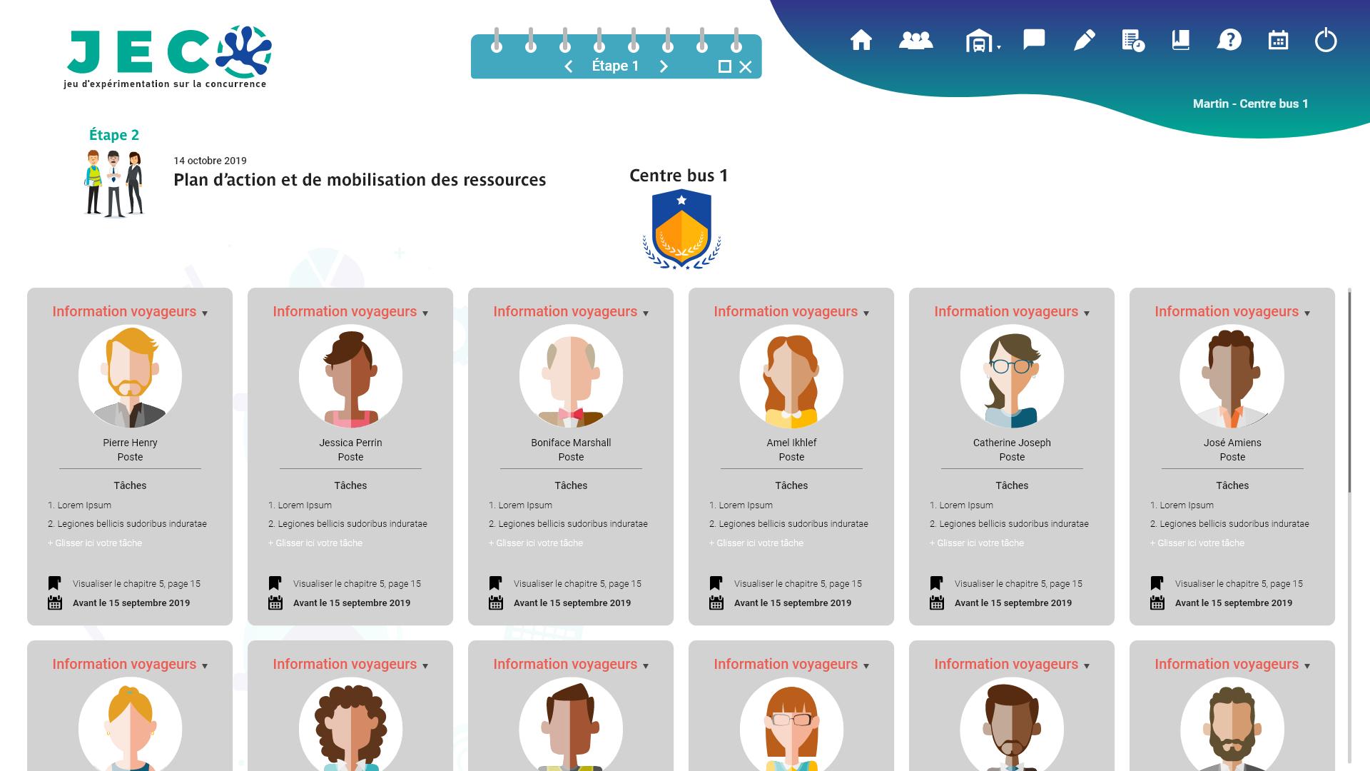 Interface d'un logiciel de formation de réponses aux appels d'offre des cadres supérieurs de la SNCF STROMBINOSCOPE