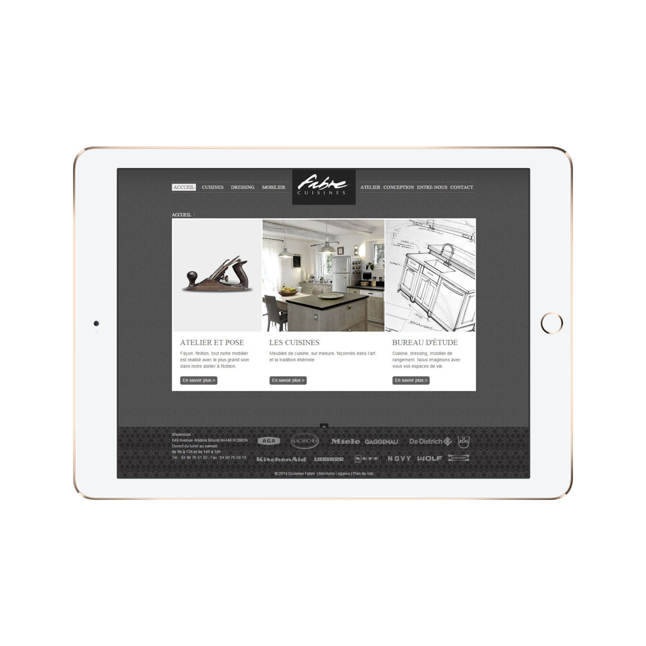 Page accueil Fabre cuisines tablette