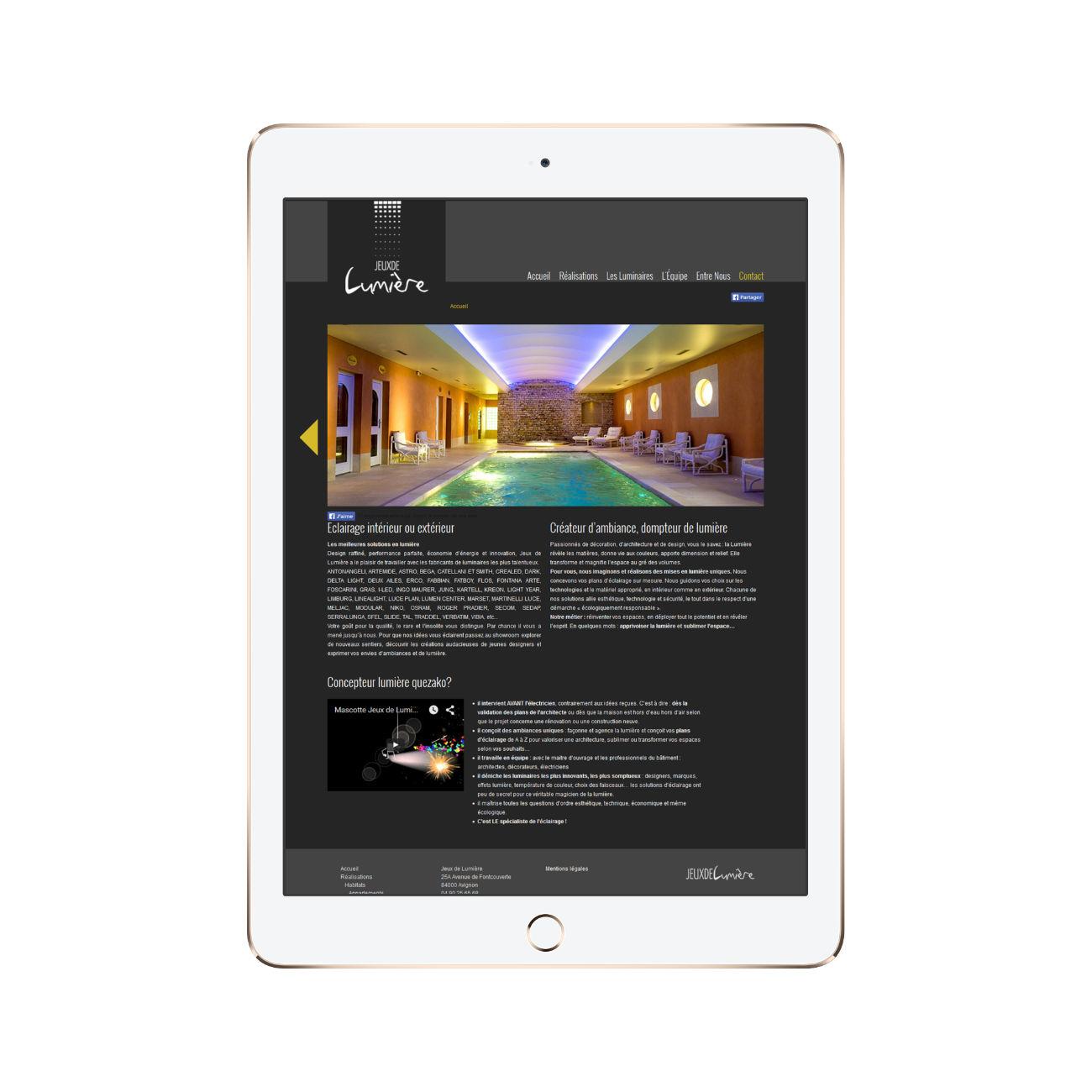 page accueil tablette site web jeux de lumiere