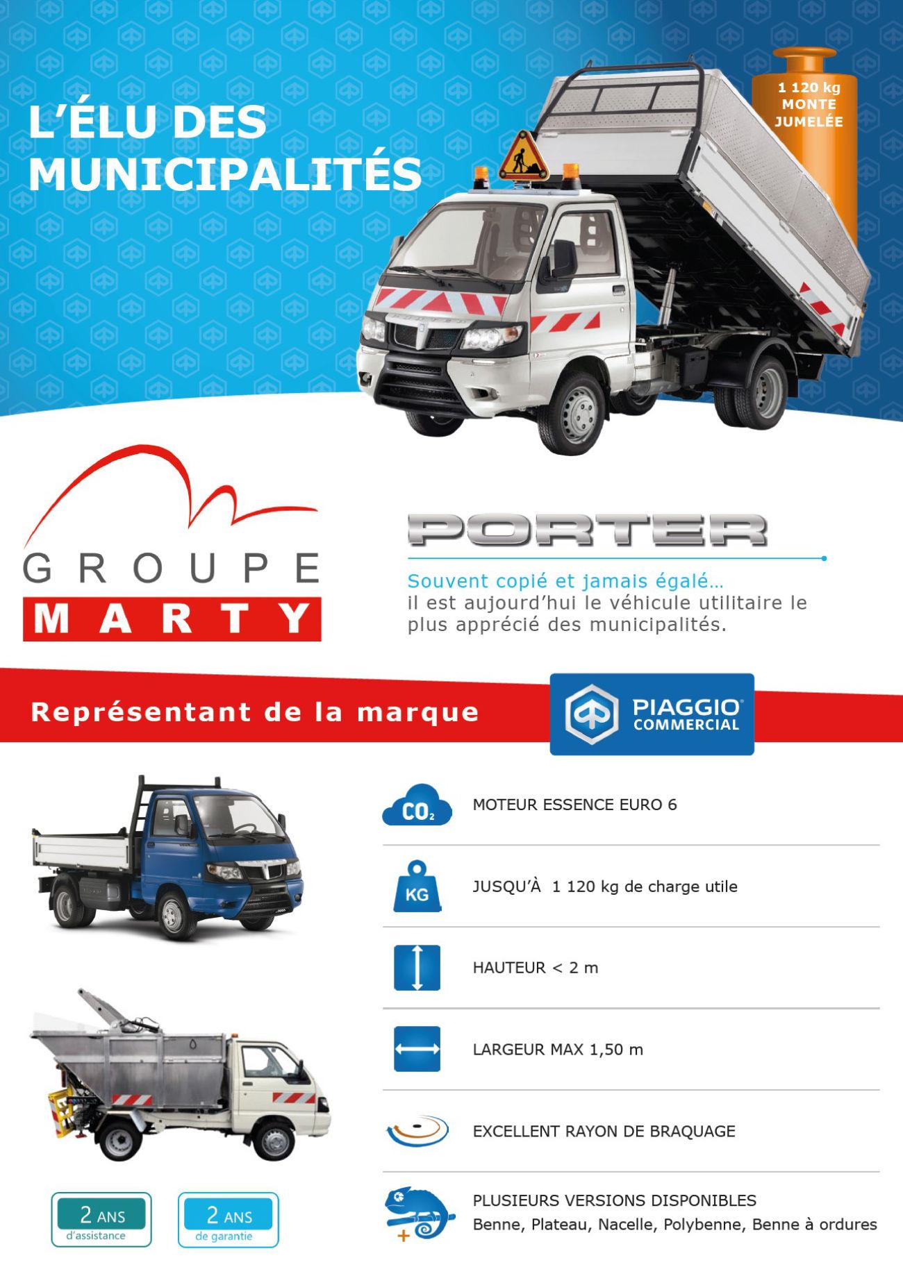 Prospectus recto de promotion du camion Piaggio Porter