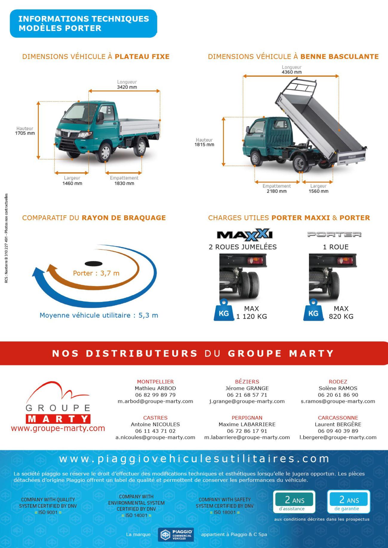 Prospectus verso de promotion du camion Piaggio Porter