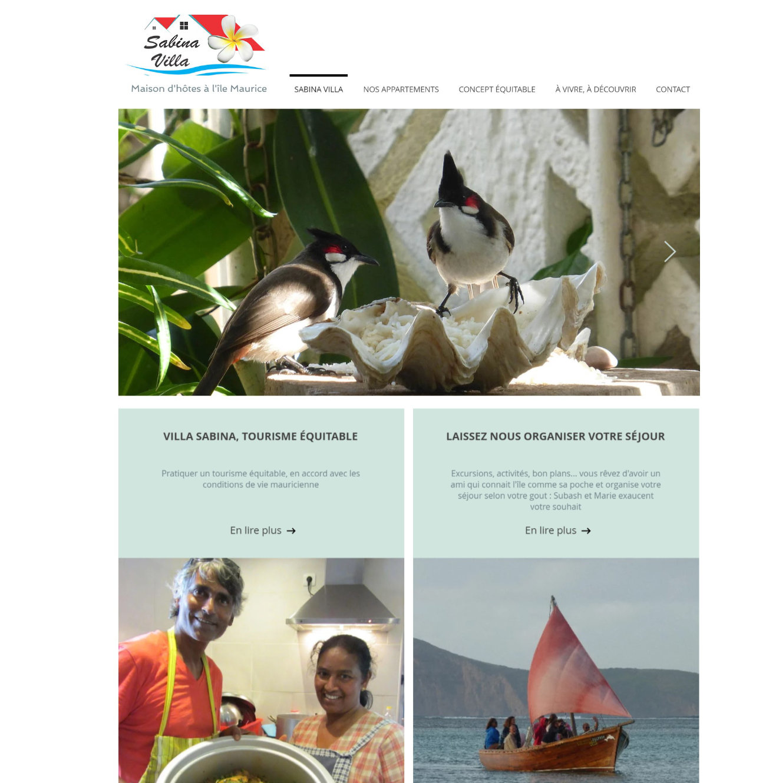 Aperçu de la page d'accueil du site web sabina villa