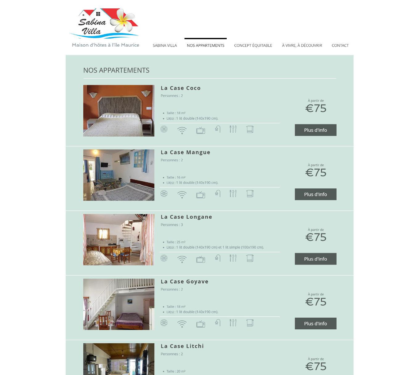 Aperçu de la pageappartement du site web sabina villa