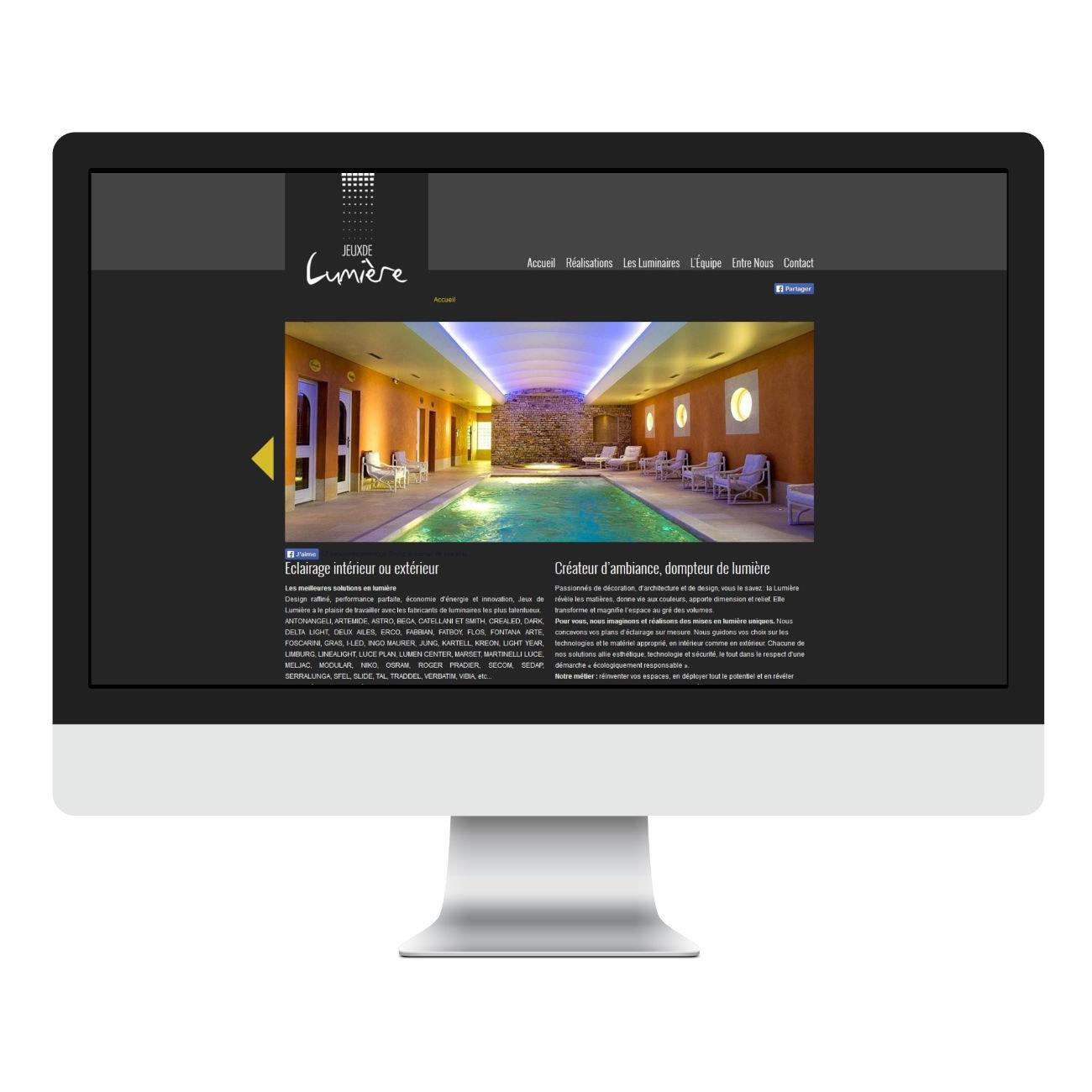 page accueil desktop site web jeux de lumiere